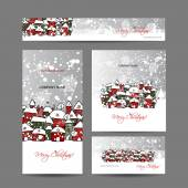 Christmas cards with winter city sketch for your design Vector illustration