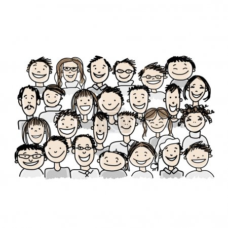 Illustration for Group of people, sketch for your design. Vector illustration - Royalty Free Image