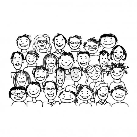 Group of people, sketch for your design. Vector il...