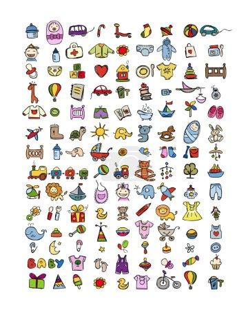 Illustration pour L'ensemble des 126 icônes de bébé pour votre conception. Illustration vectorielle - image libre de droit