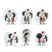 Couple in love kissing valentine sketch for your design vector illustration