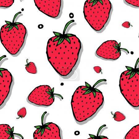 Illustration pour Modèle sans couture fraise pour votre conception. Illustration vectorielle - image libre de droit