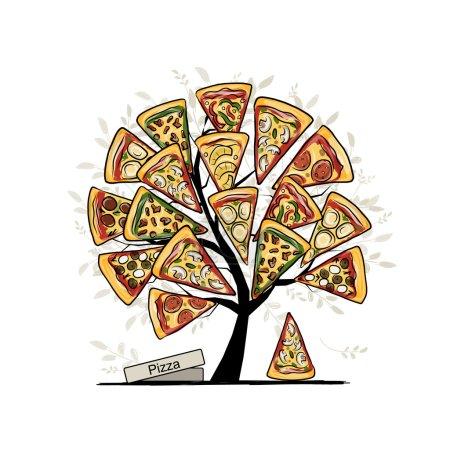 Illustration pour Pizza tree, croquis pour votre design. Illustration vectorielle - image libre de droit