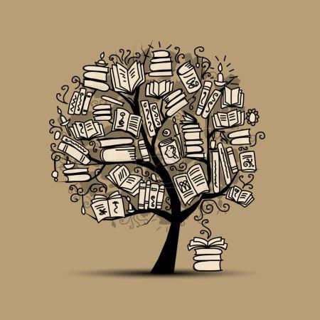 Illustration for Book tree, sketch for your design. Vector illustration - Royalty Free Image