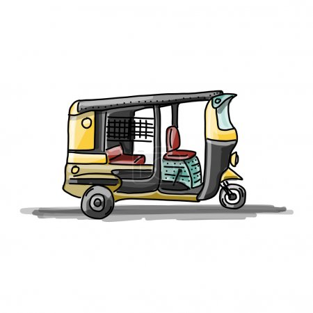 Indian taxi car, sketch for your design