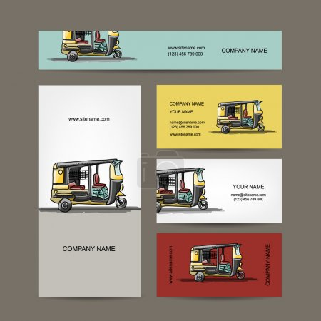 Indian taxi car, business cards for your design