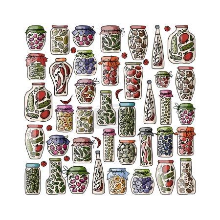 Set of pickle jars with fruits and vegetables, ske...