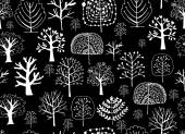 Seamless pattern with trees sketch for your design