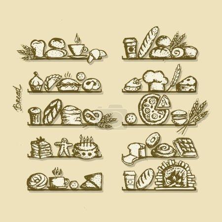 Illustration pour Boulangerie sur étagères, croquis pour votre design, croquis pour votre design. Illustration vectorielle - image libre de droit