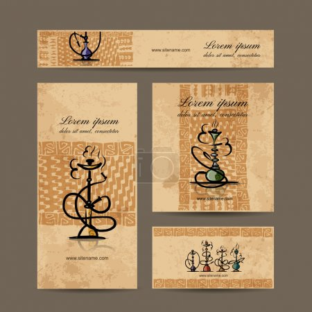 Business cards design with hookah sketch