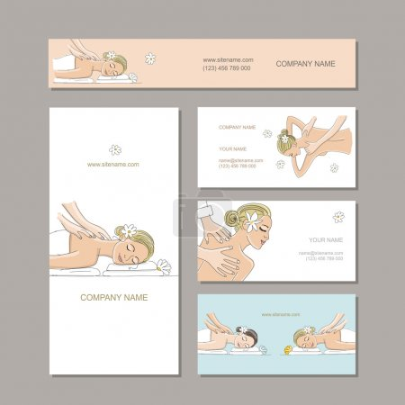 Illustration for Business cards design, women in spa saloon. Vector illustration - Royalty Free Image