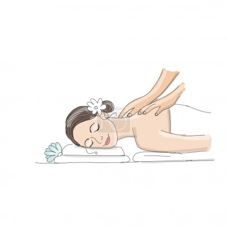 Illustration for Back massage, woman sketch for your design. Vector illustration - Royalty Free Image