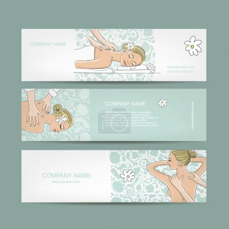 Illustration for Banners design, women in spa saloon. Vector illustration - Royalty Free Image