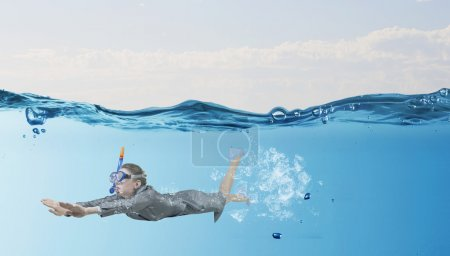 Businesswoman diver in mask