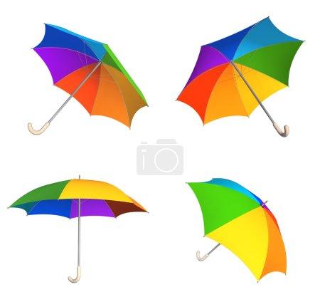 Set of rainbow umbrellas