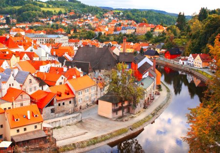 View of old city Cesky Krumlov, Czech Republic