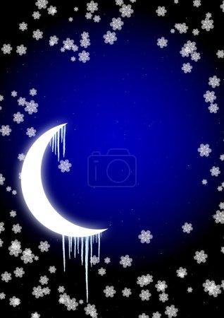 Photo pour Conte de fées d'hiver - glaçons sur la lune dans le ciel nocturne - image libre de droit