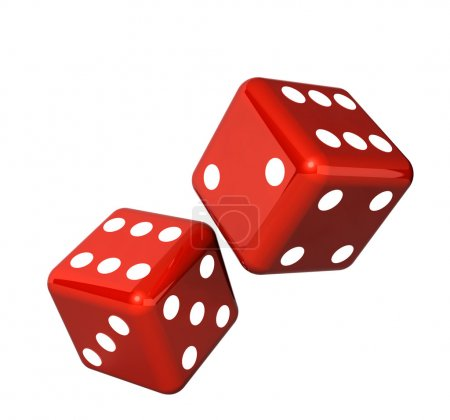 Photo for Falling red dice for gambling. Isolated on white background - Royalty Free Image
