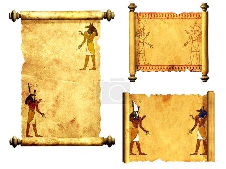 Photo pour Collection de parchemins avec des images de dieux égyptiens - Anubis et Horus. Objet isolé sur fond blanc - image libre de droit