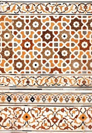 Photo pour Antique mosaïque décorative sur marbre, Inde - image libre de droit