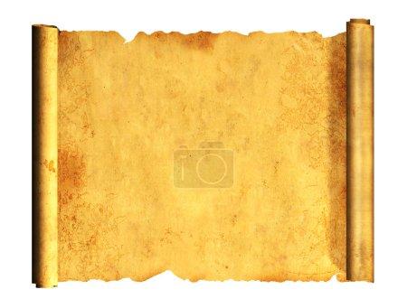 Photo pour Rouleau de vieux parchemin. Objet isolé sur fond blanc - image libre de droit