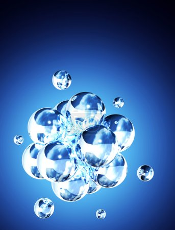Photo for Abstract molecular structure. On blue background - Royalty Free Image