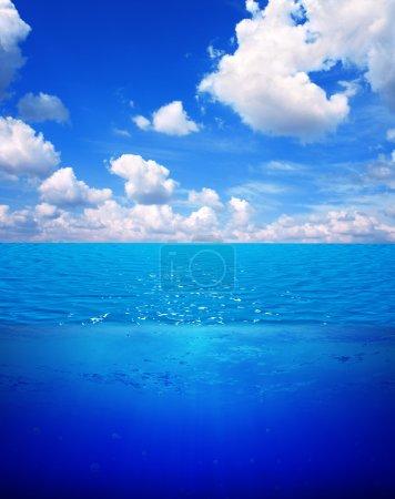 Underwater scene and blue sky