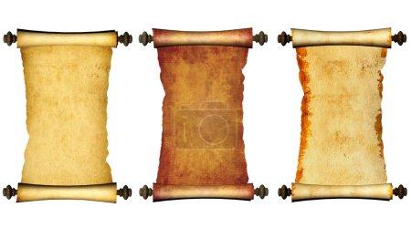 Photo pour Collection de vieux parchemins. Isolé sur fond blanc - image libre de droit