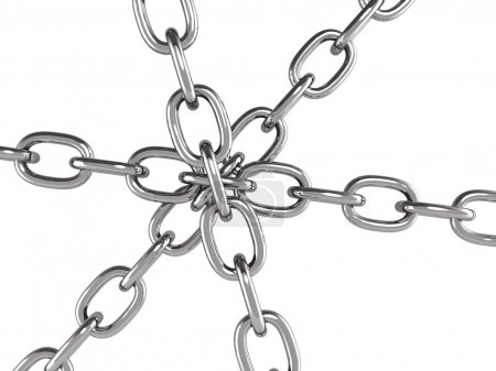 Photo for Six metal chains joined together. Objects isolaten on white background - Royalty Free Image