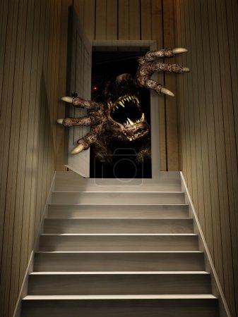 Monster in open door