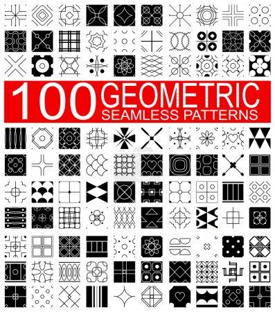 Illustration for Set of 100 different vector geometric seamless patterns (tiling) of black and white color. Endless texture can be used for pattern fills, web page background, surface and textile textures, wallpaper - Royalty Free Image
