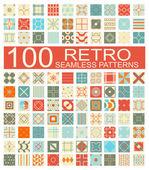 Collection of 100 retro different vector geometric seamless patt