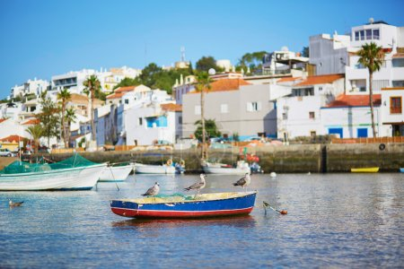Scenic view of fishing boats in Ferragudo, Portugal