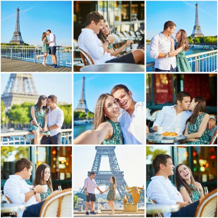 Collage with young romantic couple having a date