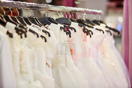 Collection of wedding dresses in a shop