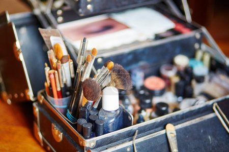 Makeup brushes in makeup artist case