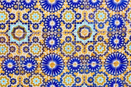 Wall decorated with mosaics in Marrakech