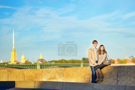 Happy romantic couple together in St. Petersburg