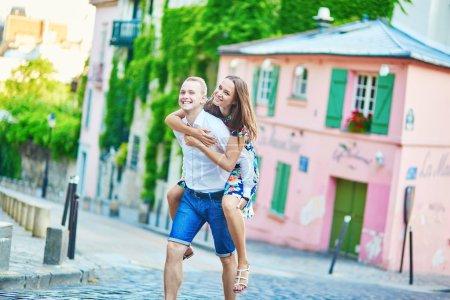 Romantic couple having a date on Montmartre