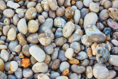 Photo pour De nombreux cailloux colorés sur le fond de la plage - image libre de droit