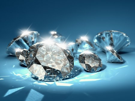 Photo pour Diamants brillants sur fond bleu - image libre de droit