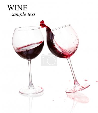 Photo for Set of glasses with red wine  (with sample text) - Royalty Free Image