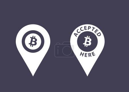 Illustration pour Bitcoins accepté ici signes. Icônes de monnaie virtuelle. Illustration vectorielle - image libre de droit