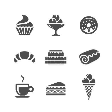 Illustration pour Café et confiserie icônes vectorielles. Produits de boulangerie sucrés et desserts - image libre de droit