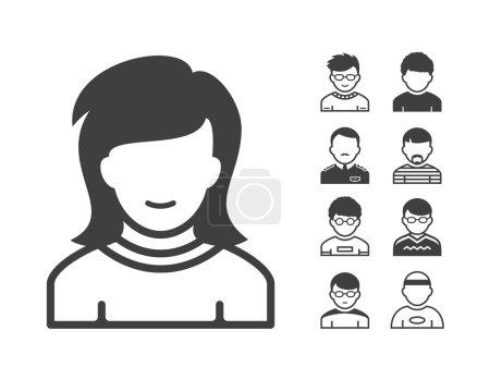 Illustration pour Ensemble d'icônes Avatar et utilisateur. Icônes d'occupation et de personnes. Illustration vectorielle - image libre de droit