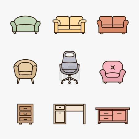 Illustration pour Collection d'icônes de meubles. Ensemble icône de détaillant de meubles. Style de conception de matériau linéaire - image libre de droit