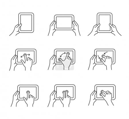 tablet gesture icons