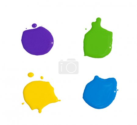 Photo for Splats splashes and blobs of brightly colored paint in different shapes drips isolated on white - Royalty Free Image