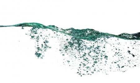 Photo for Water splash with bubbles of air, isolated on the white - Royalty Free Image