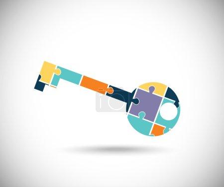 Illustration pour Touche de couleur abstrait construit des pièces du puzzle - image libre de droit